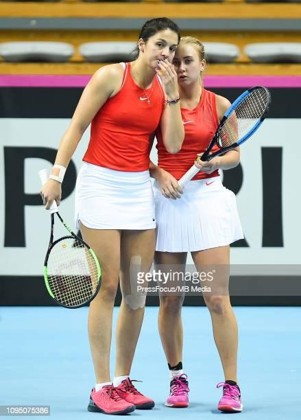 Anastasia Potapova and Margarita Gasparyan of Russia react during their doubles match against Karen Barritza and Maria Jespersen of Denmark during...