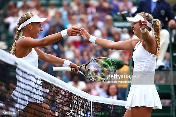 Anastasia Potapova of Russia celebrates victory following the Girl's Singles Final against Dayana Yastremska of Ukraine on day twelve of the...