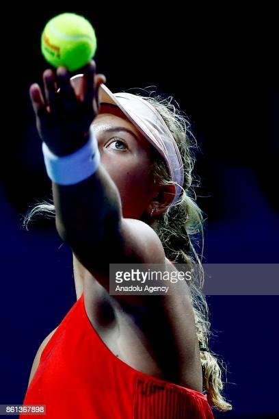 Anastasia Potapova of Russia in action against Arina Rodionova of Australia during the women's singles tennis qualifying match the International...