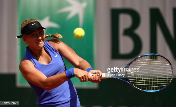 Anastasia Potapova of Russia in action during girls singles first round match against Kaja Juvan ok Slovenia on day nine of the 2017 French Open at...