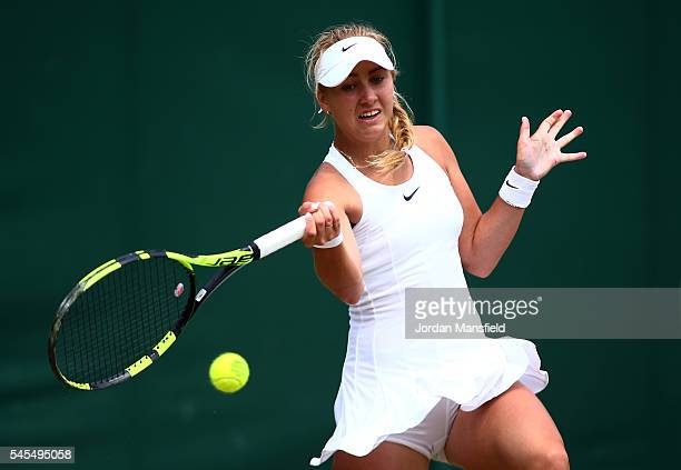Anastasia Potapova of Russia in action during the Girl's Singles Semi Finals match against Kayla Day of The United States on day eleven of the...