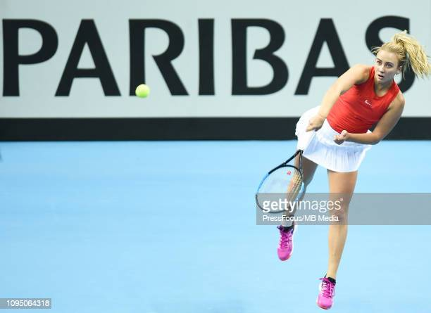 Anastasia Potapova of Russia in action during their doubles match against Karen Barritza and Maria Jespersen of Denmark during the Fed Cup Europe and...