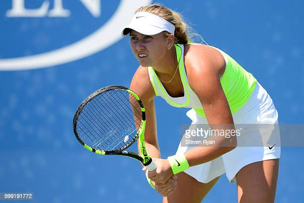 Anastasia Potapova of Russia looks on against Maria Mateas of the United States during her first round Junior Girl's match on Day Seven of the 2016...