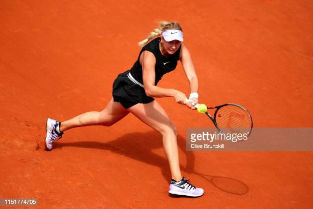 Anastasia Potapova of Russia plays a backhand in her ladies singles first round match against Angelique Kerber of Germany during Day one of the 2019...