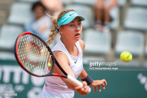 Anastasia Potapova of Russia plays a forehand during WTA Ladies Open Lausanne at Tennis Club StadeLausanne on July 18 2019 in Lausanne Switzerland