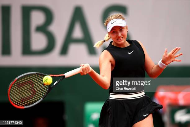 Anastasia Potapova of Russia plays a forehand in her ladies singles first round match against Angelique Kerber of Germany during Day one of the 2019...