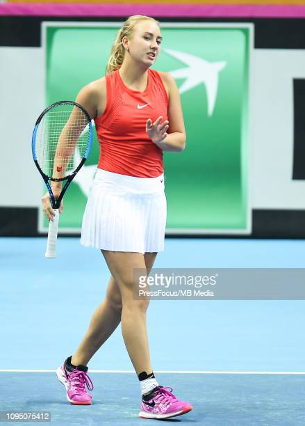 Anastasia Potapova of Russia react during their doubles match against Karen Barritza and Maria Jespersen of Denmark during the Fed Cup Europe and...