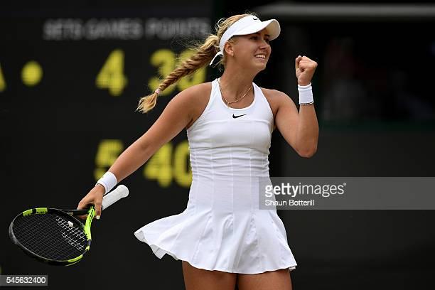 Anastasia Potapova of Russia reacts during the Girls Singles Final against Danya Yastremenska of Ukraine on day twelve of the Wimbledon Lawn Tennis...