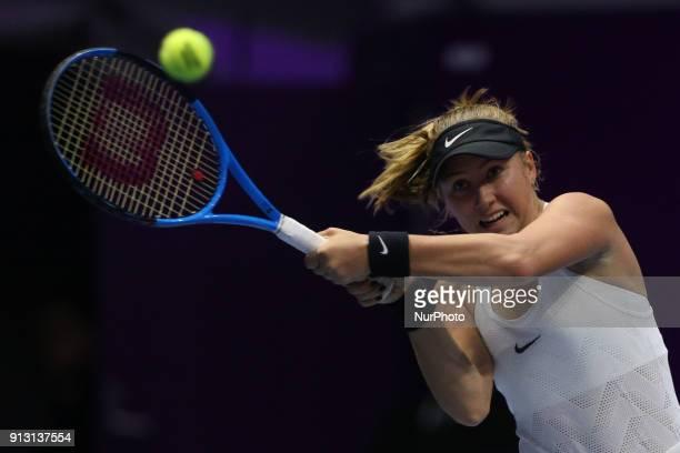 Anastasia Potapova of Russia returns the ball to Caroline Wozniacki of Denmark during the St Petersburg Ladies Trophy ATP tennis tournament match in...