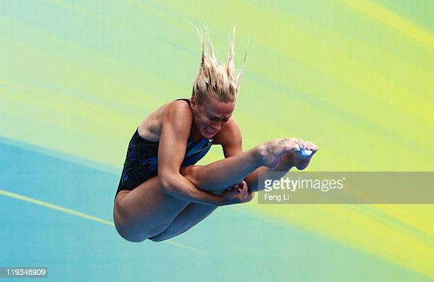Anastasia Pozdniakova of Russia Federation competes in the Women's 1m Springboard Final during Day Four of the 14th FINA World Championships at the...