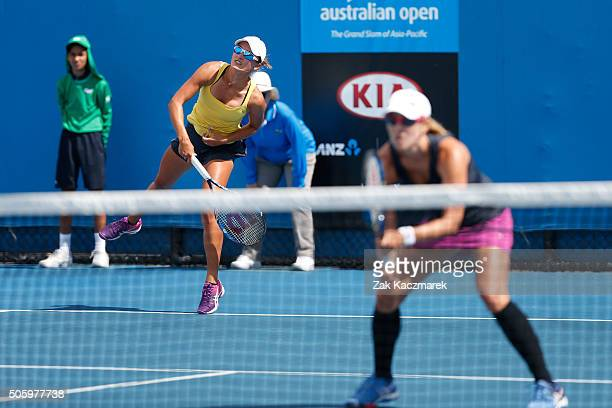 Anastasia Rodionova and Arina Rodionova of Australia compete in their first round match against Lara Arruabarrena of Spain and Andreja Klepac of...