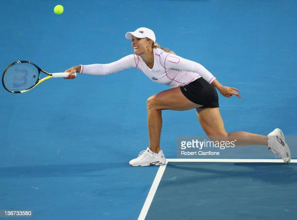 Anastasia Rodionova of Australia returns a shot to Jarmila Gajdosova of Australia during day three of the 2012 Hobart International at Domain Tennis...