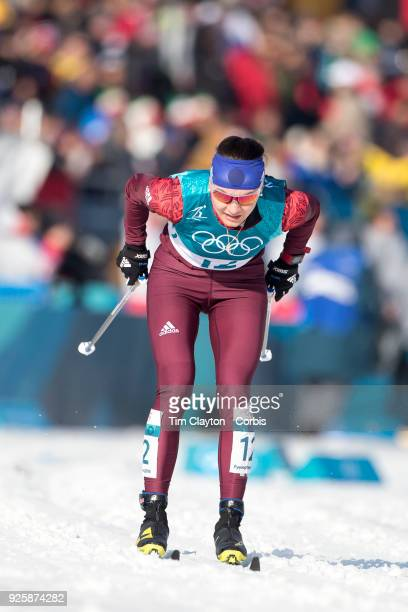 Anastasia Sedova an Olympic Athlete of Russia in action during the CrossCountry Skiing Ladies' 30km Mass Start Classic at the Alpensia CrossCountry...