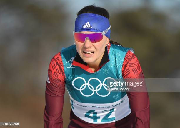 Anastasia Sedova of Olympic Athlete from Russia crosses the finish line during the CrossCountry Skiing Ladies' 10 km Free on day six of the...