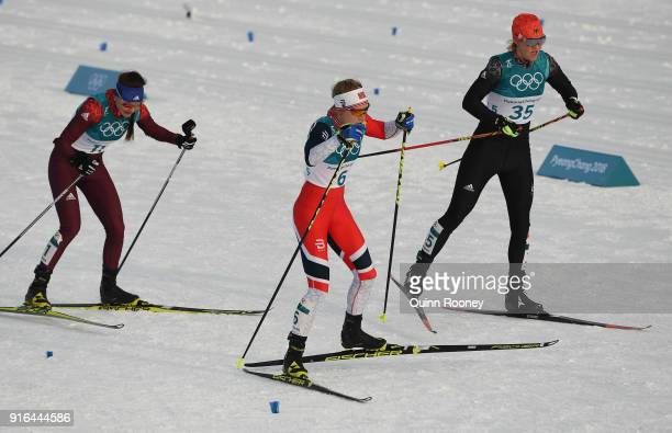 Anastasia Sedova of Olympic Athlete from Russia Ragnhild Haga of Norway and Victoria Carl of Germany compete during the Ladies Cross Country Skiing...