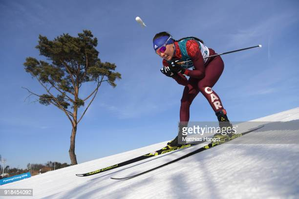 Anastasia Sedova of Olympic Athlete from Russia skis during the CrossCountry Skiing Ladies' 10 km Free on day six of the PyeongChang 2018 Winter...