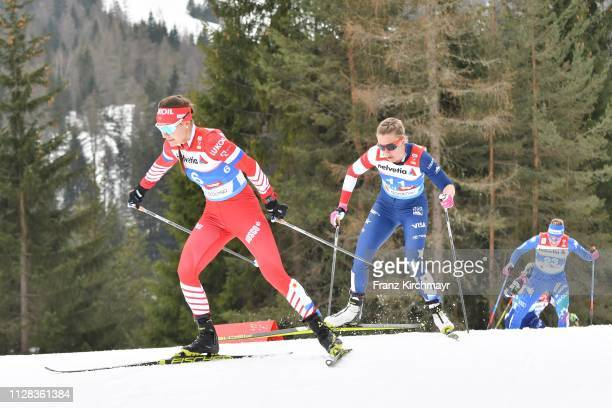 Anastasia Sedova of Russia and Sadie Bjornsen of the United States during the Women's Cross Country 30km at the FIS Nordic World Ski Championships at...