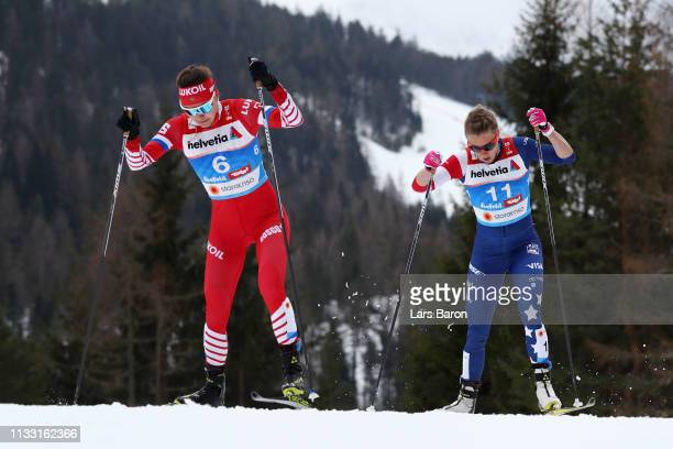 Anastasia Sedova of Russia and Sadie Bjornsen of the United States compete in the Women's Cross Country 30k race during the FIS Nordic World Ski...