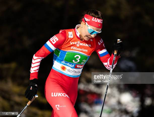 Anastasia Sedova of Russia competes in the Women's 4x5km Cross Country relay during the FIS Nordic World Ski Championships on February 28 2019 in...