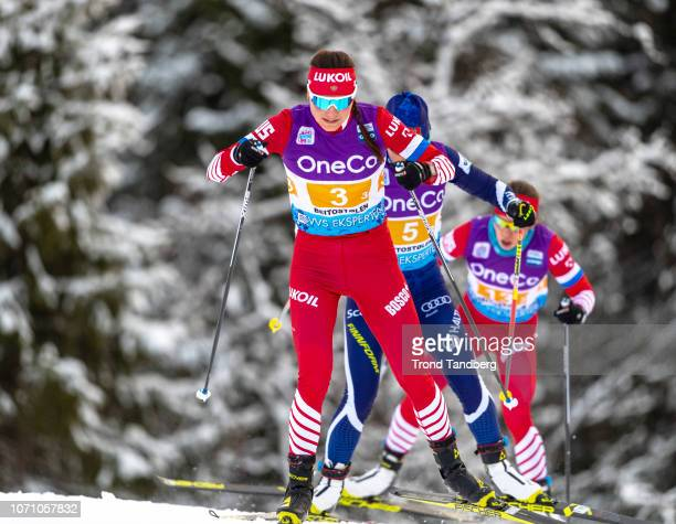 Anastasia Sedova of Russia RittaLisa Roponen of Finland during WC Cross Country Ladies 4 x 5 km Relay at Beitostoelen Ski Stadion on December 9 2018...