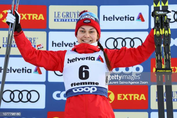 Anastasia Sedova of Russia takes 3rd place during the FIS Nordic World Cup Men's and Women's Cross Country Classic Mass Start on January 5 2019 in...