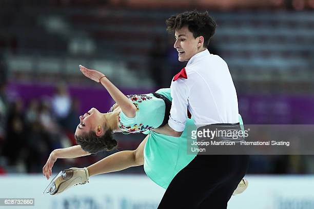 Anastasia Shpilevaya and Grigory Smirnov of Russia compete during Junior Ice Dance Free Skating on day two of the ISU Junior and Senior Grand Prix of...