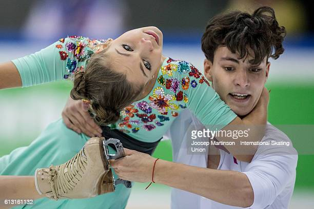 Anastasia Shpilevaya and Grigory Smirnov of Russia compete during the Junior Ice Dance Free Dance on day two of the ISU Junior Grand Prix of Figure...