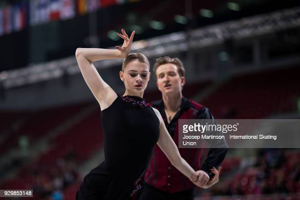 Anastasia Skoptcova and Kirill Aleshin of Russia compete in the Junior Ice Dance Free Dance during the World Junior Figure Skating Championships at...