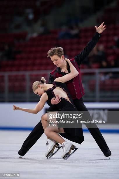 Anastasia Skoptcova and Kirill Aleshin of Russia react in the Junior Ice Dance Free Dance during the World Junior Figure Skating Championships at...