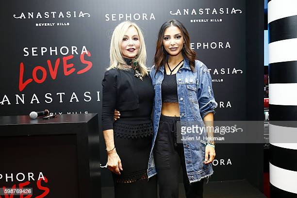 LR Anastasia Soare and Sananas pose during the Anastasia Beverly Hills Launches Beauty Line Exclusively at Sephora ChampsElysees on September 2 2016...