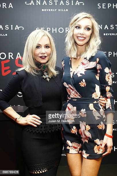 Anastasia Soare and Sandrea attend the Anastasia Beverly Hills Launches Beauty Line Exclusively at Sephora ChampsElysees on September 2 2016 in Paris...