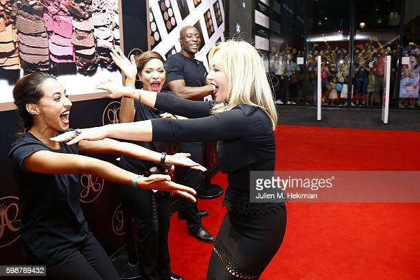 Anastasia Soare greets Sephora employees during the Anastasia Beverly Hills Launches Beauty Line Exclusively at Sephora ChampsElysees on September 2...