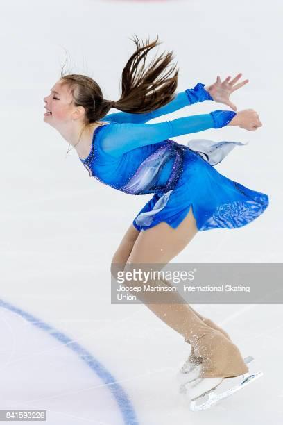 Anastasia Tarakanova of Russia competes in the Junior Ladies Short Program on day 2 of the ISU Junior Grand Prix of Figure Skating at Eis Arena...