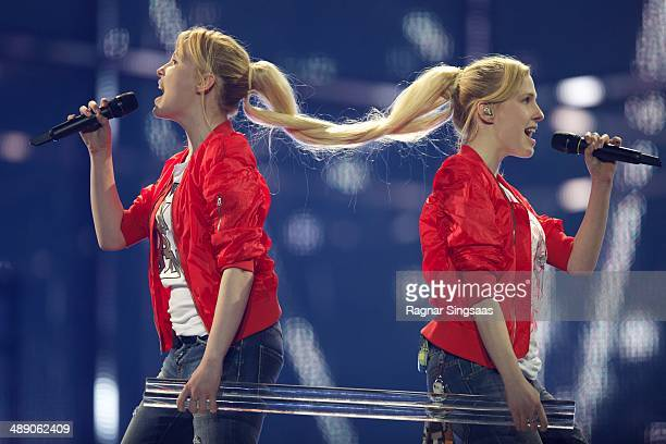 Anastasia Tolmachevy and Maria Tolmachevy of the Tolmachevy Sisters from Russia perform during a dress rehearsal ahead of the Grand Final of the...