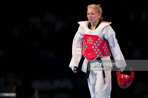 Anastasia Valueva of Russia reacts after losing against Sohui Kim of South Korea during the women's 46kg final combat of WTF World Taekwondo...