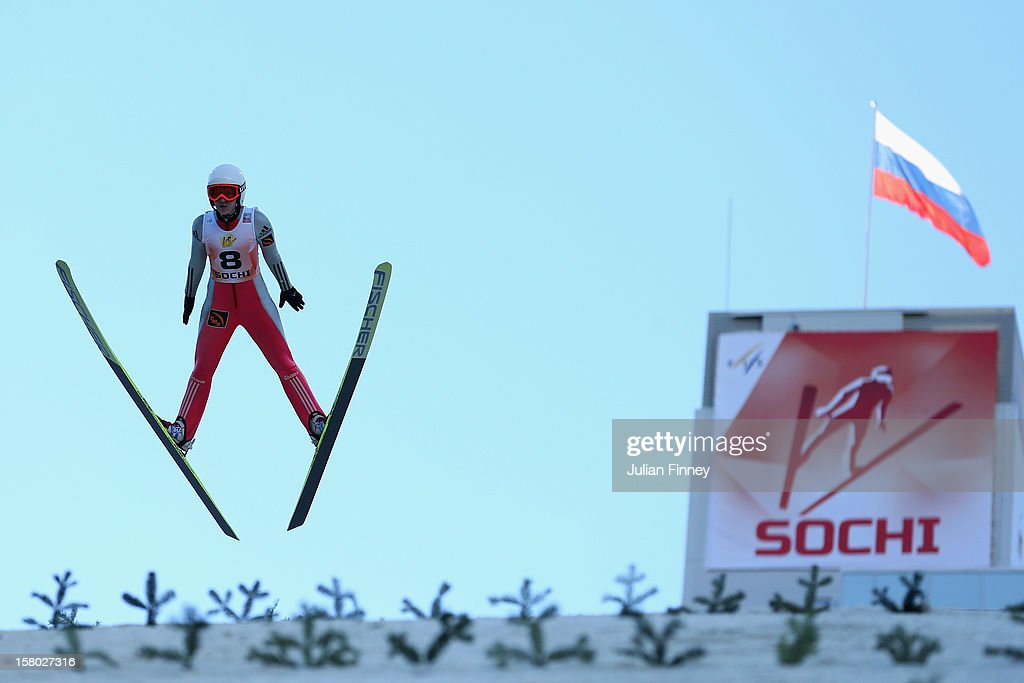 Anastasia Veshchikova of Russia competes in a Ski Jump during the FIS Ski Jumping World Cup at the RusSki Gorki venue on December 9, 2012 in Sochi, Russia.