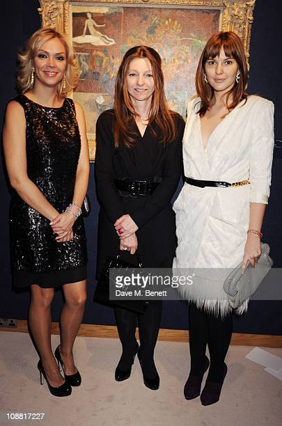 Anastasia Virganskaya and Sarah Faberge with Ksenia Gorbacheva attend a cocktail party celebrating Mikhail Gorbachev's 80th birthday hosted by the...