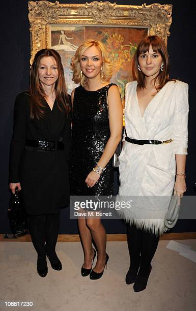 Anastasia Virganskaya and Sarah Faberge with Ksenia Gorbacheva attend a cocktail party celebrating Mikhail Gorbachev's 80th birthday hosted by the...