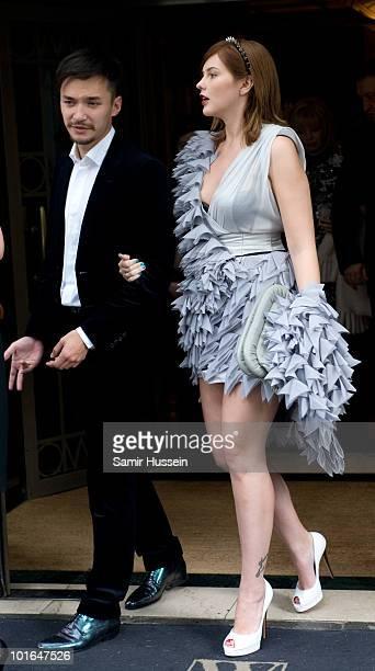 Anastasia Virganskaya granddaughter of Mikhail Gorbachev leaves the Westbury Hotel on her way to the Raisa Gorbachev Foundation Party on June 5 2010...