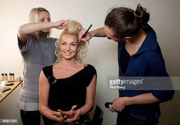 Anastasia Volochkova the Russian ballerina and former candidate for the mayor of Sochi prepares for a photo shoot in Moscow Russia on Thursday April...