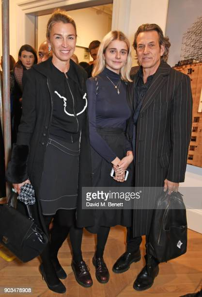 """Anastasia Webster, Amy Webster and Stephen Webster attend the private view of """"JR: Giants - Body of Work"""" at Lazinc on January 10, 2018 in London,..."""
