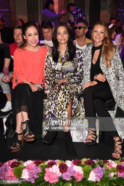 Anastasia Zampounidis, Amira Aly and Jana Julie Kilka attend the Sportalm Kitzbuehel show during the Berlin Fashion Week Spring/Summer 2020 at ewerk...