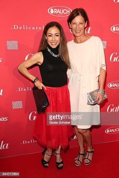 Anastasia Zampounidis and fashion designer Minx Eva Lutz attend the 'Gala' fashion brunch during the MercedesBenz Fashion Week Berlin Spring/Summer...