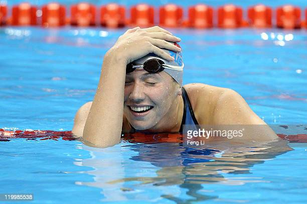 Anastasia Zueva of the Russia Federation celebrates winning the gold medal in the Women's 50m Backstroke final during Day Thirteen of the 14th FINA...