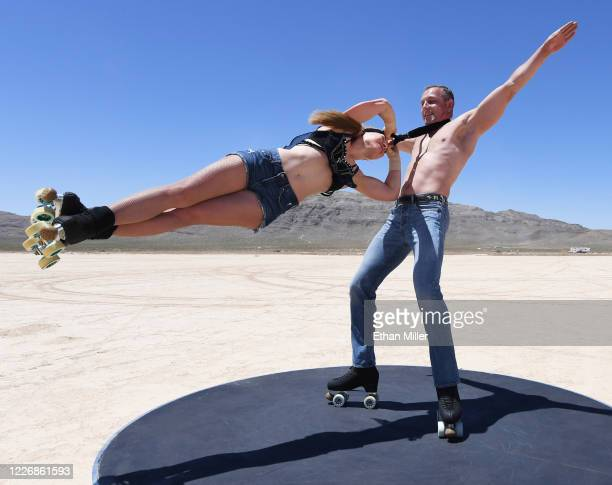 Anastasiia Bogoslova and her husband Pavel Bahaslou of the rollerskating duo Wings Dream from the EXTRAVAGANZA The Vegas Spectacular show at Bally's...