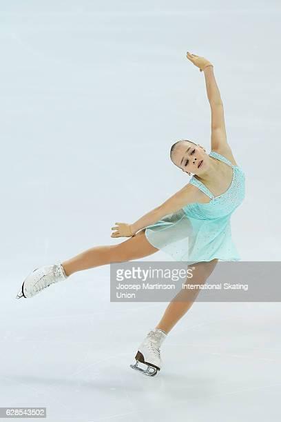 Anastasiia Gubanova of Russia competes during Junior Ladies Short Program on day one of the ISU Junior and Senior Grand Prix of Figure Skating Final...