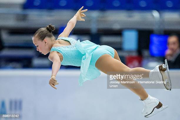 Anastasiia Gubanova of Russia competes during the junior ladies short program on day one of the ISU Junior Grand Prix of Figure Skating on September...