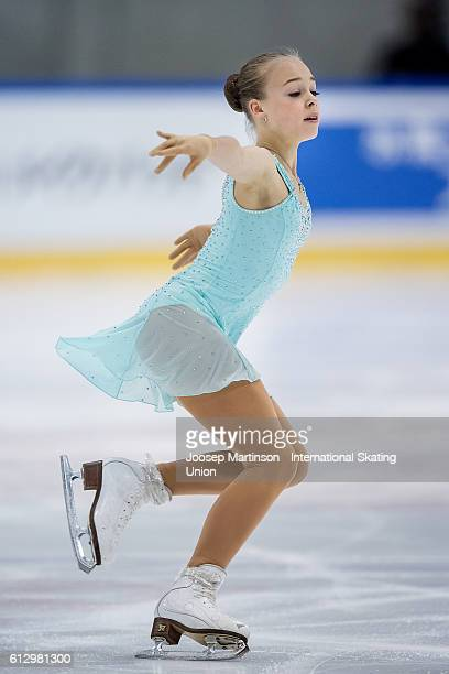 Anastasiia Gubanova of Russia competes during the Junior Ladies Short Program on day one of the ISU Junior Grand Prix of Figure Skating on October 6...