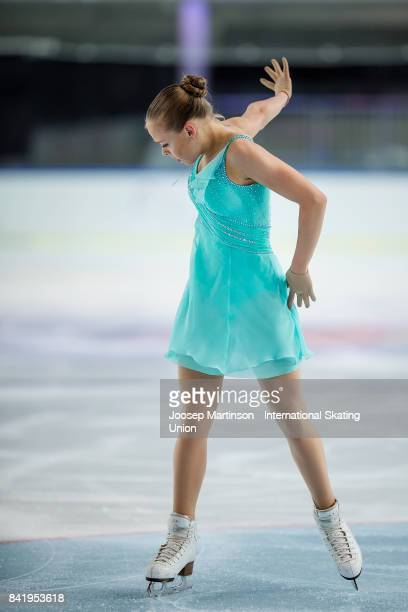 Anastasiia Gubanova of Russia competes in the Junior Ladies Free Skating on day 3 of the ISU Junior Grand Prix of Figure Skating at Eis Arena...