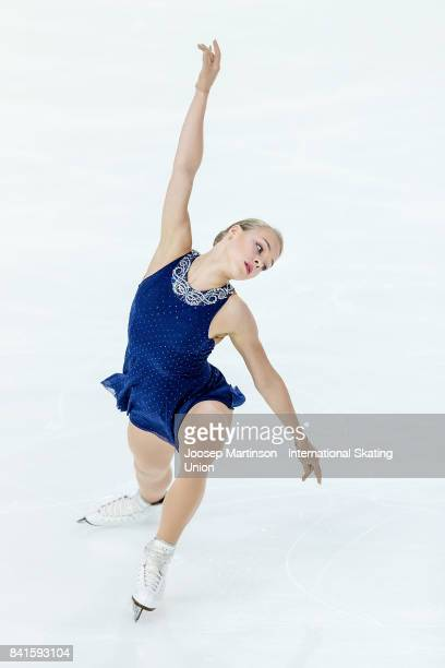 Anastasiia Gubanova of Russia competes in the Junior Ladies Short Program on day 2 of the ISU Junior Grand Prix of Figure Skating at Eis Arena...